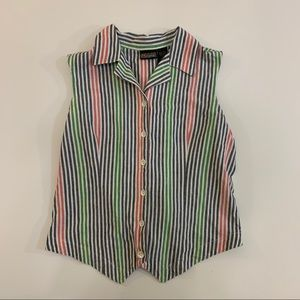 Vintage sleeveless buttondown collar striped shirt